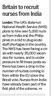 Britain to recruit nurses form India